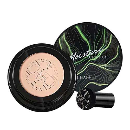 Pilzkopf Luftpolster Creme + Pilz Schwamm, Air Cushion Foundation CC Creme, Flüssige Foundation Make up Grundierung, BB Cream Mushroom Head Air Cushion, Foundation Compact Cover Moist Makeup (Natural)