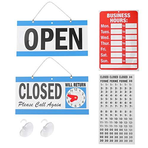 SOLUSTRE Kit de Letrero de Horario Comercial Letrero Abierto Y Cerrado para Almohadillas Adhesivas para Negocios con Ventosa para Puertas Y Ventanas Negocios Tiendas Restaurante