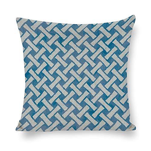 Federa quadrata in cotone e lino, per cuscini, decorazione per la casa, per divano, letto, sedia, bianco, blu, rettangolare, a spina di pesce, stile contemporaneo
