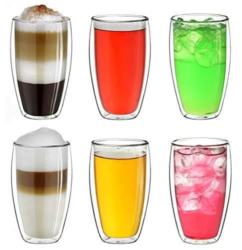 """Creano doppelwandiges Thermoglas 400ml """"DG-SH"""", großes Doppelwandglas aus Borosilikatglas, doppelwandige Kaffeegläser, Teegläser, Latte Gläser 6er Set"""
