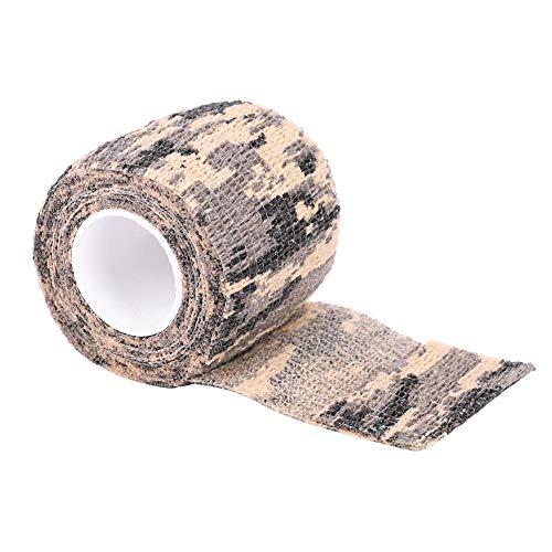 Alomejor Tactical Camouflage Tape Kein Kleber Ohne Vlies Stealth Tape selbstklebend Dehnbar für Outdoor Wrap Gewehrjagd(ACU Tarnung)