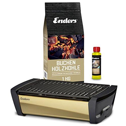 Enders Aurora Mirror Starterset Gold - Raucharmer Tischgrill im Set mit Holzkohle und Anzündpaste - mobiler Holzkohle-Grill, rauchfrei, mit Gussrost für Balkon, Picknick, Camping