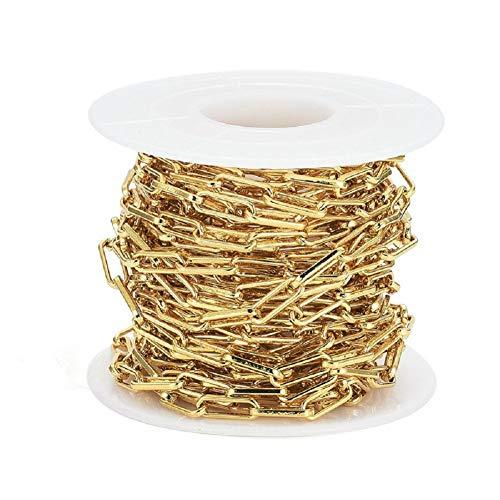 Cadena de eslabones ovalados de 5 m chapada en oro de 18 quilates, 10 x 3,6 mm, para gargantilla, pulseras, collares, bisutería.
