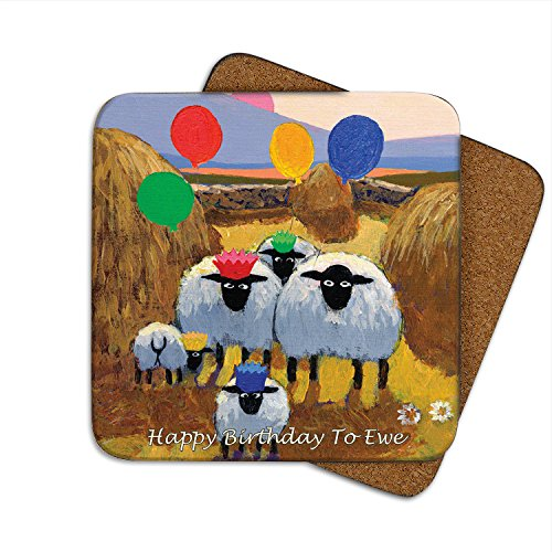 Irish Coaster With Sheep In A Field With The Text 'Happy Birthday To Ewe'