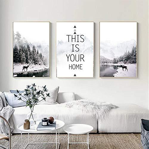 woplmh Wald Winter Landschaft Dekoration Wandkunst Leinwand Malerei Nordic Poster Drucken Wandbilder-40x60cmx3 / kein Rahmen