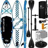 KESSER® Aufblasbare SUP Board Set Stand Up Paddle Board   366x77x15cm 12.0'   Supboard Premium Surfboard Wassersport   6 Zoll Dick   Komplettes Zubehör   130kg Weiß-Blau