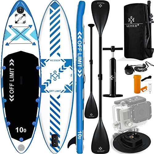KESSER® Aufblasbare SUP Board Set Stand Up Paddle Board | 320x76x15cm 10.6' | Supboard Premium Surfboard Wassersport | 6 Zoll Dick | Komplettes Zubehör | 130kg Weiß-Blau
