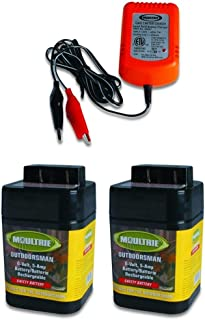 2 MOULTRIE 6 Volt Rechargeable Safety Feeder Batteries + 6 Volt Battery Charger