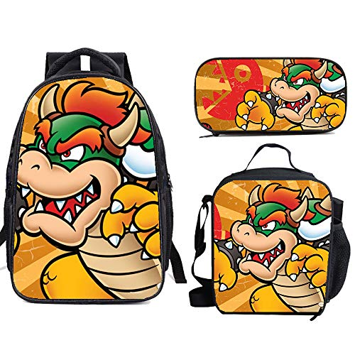 Su-Per Ma-Rio School Backpack Set Bookbag with Lunch Bags Pencil Case Lightweight Travel for Kids Boys Girls