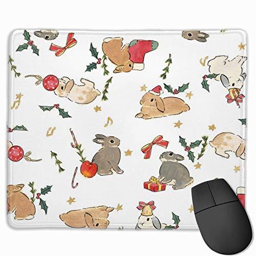 Kaninchen tragen Weihnachtsmützen Geschenk Anti-Rutsch personalisierte Designs Gaming Mauspad schwarzes Tuch Rechteck Mousepad Kunst Naturkautschuk Mauspad