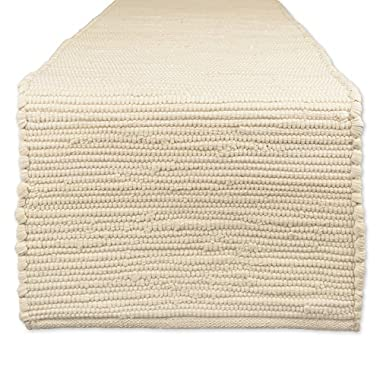 DII Cotton Everyday Machine Washable Chindi Rag Table Runner, 14 X 72, Natural