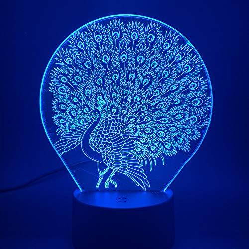 Nur 1 Stück Animal Peacock 3d Lampe Visueller Lichteffekt Peahen LED Nachtlicht für Baby Kinderzimmer Nachtlicht 2020 Atmosphäre