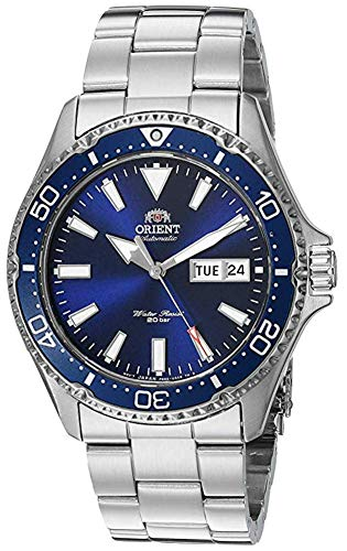 Orient Men's Kamasu Japanese Automatic Diving Watch with Stainless-Steel Strap, Silver, 22 (Model:...