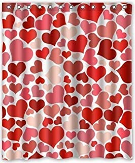 Sweetheart Shower Curtain Set in Pink Red Valentines Day Bathroom Curtain with Hooks 60(w) x 72(h) Waterproof 100% Polyester Fabric Bathroom Decorations