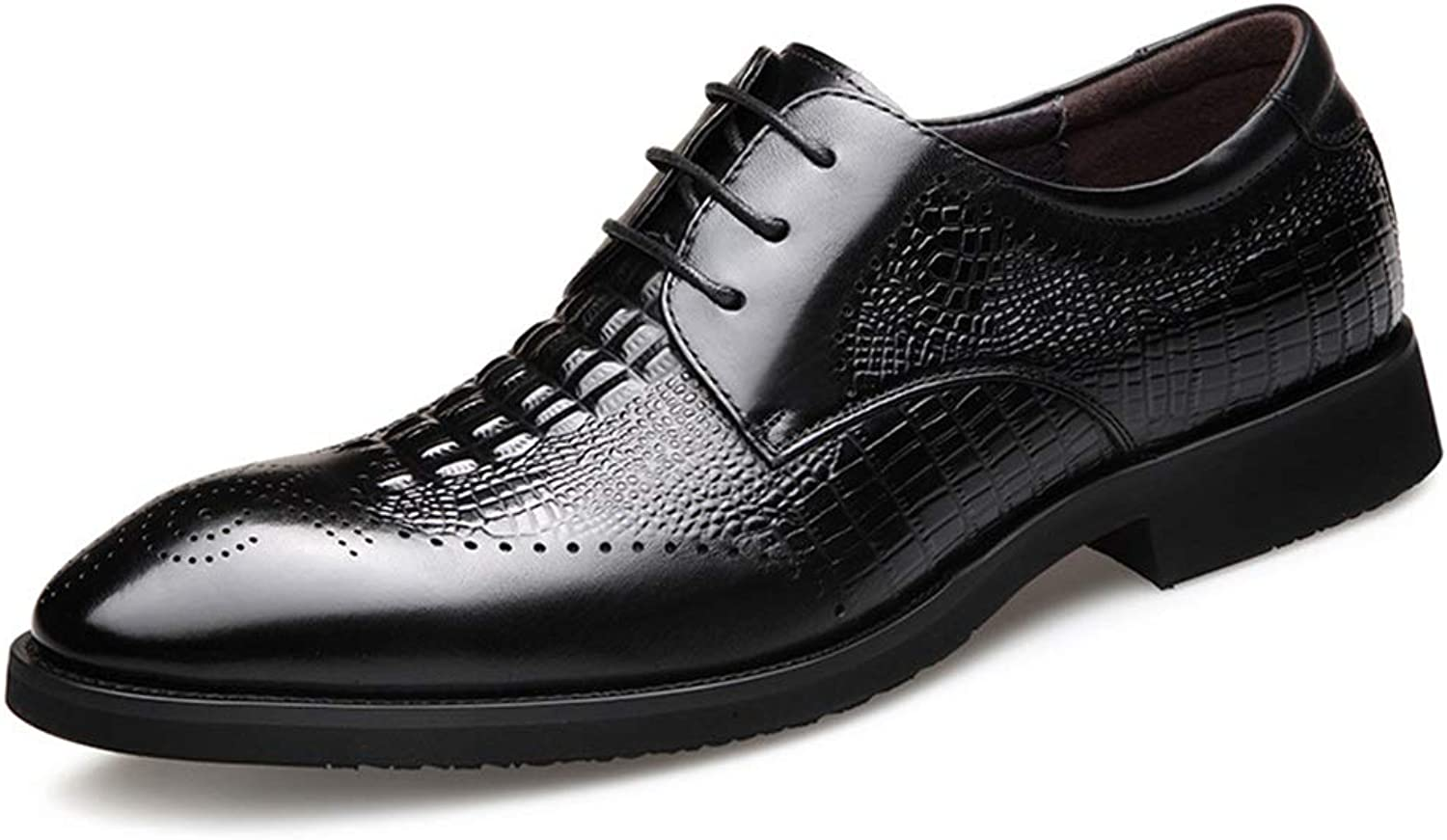 Men's shoes, New Man Business Dress shoes British Single shoes Mens Leather Pointed Casual shoes (color   Black, Size   42)