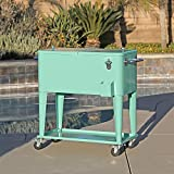 80 Quart Qt Rolling Cooler Ice Chest Cart for Outdoor Patio Deck Party, Retro Seafoam, Portable Backyard Party Bar Cold Drink Beverage Tub Trolley, Wheels with Shelf, Stand, & bottle opener