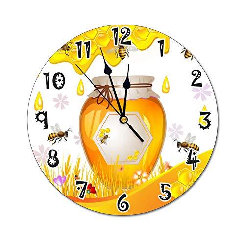 Fikujap decoración de la Pared del Reloj floreros de Cristal con Flores de Colores en estantes de Madera con Grandes de la Pared Decorativos en Colores Pastel Efectos gráfico del Reloj Decorativo,11