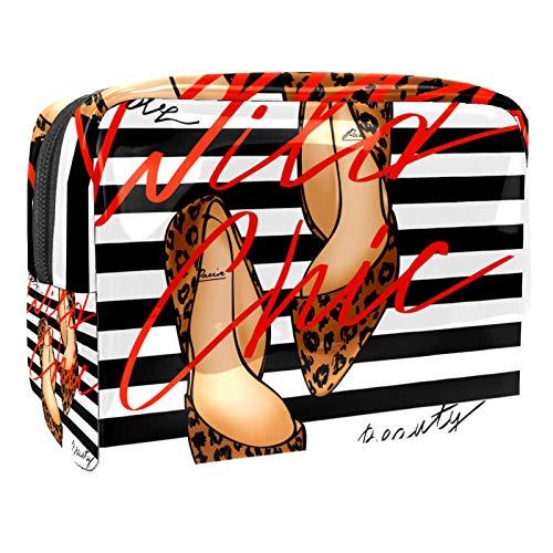 Travel Makeup Bag Leopard high heels Toiletry Bag Waterproof Cosmetic Cases Makeup Pouch for Women Girls 18.5x7.5x13cm