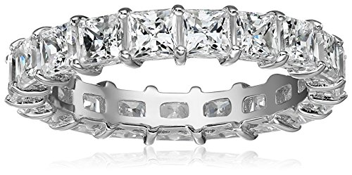 Platinum-Plated Sterling Silver Princess Cut All-Around Band Ring made with Swarovski Zirconia (7.5 cttw), Size 9