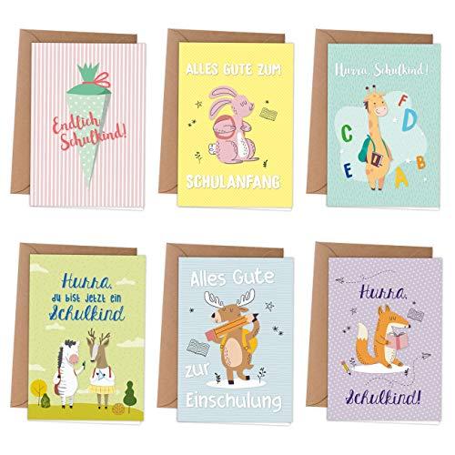 6 Grußkarten als Klappkarte inklusive Umschlag zur Einschulung - Grüße für das Schulkind - kindgerechte Glückwunschkarten zum Schulanfang - Motiv Tiere
