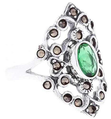 WINDALF Damen Mittelalter Ring AZUARÎ 21 mm Grüner Smaragd 925 Sterlingsilber (Silber, 58 (18.5))