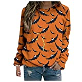 WOZOW Sweatshirts Femme Halloween Citrouille Chauve-Souris Imprimé Chemisier à Manches Longues Pull Hauts T-Shirt Tops Grande Taille Vestes De Sport Col Rond Automne Hiver Printemps ( Orange,S )