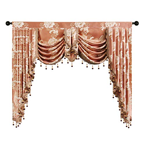 ELKCA Golden Jacquard Swag Waterfall Valance Luxury Curtain Valance for Living Room (Floral-Coffee, W59 Inch, 1 Panel)