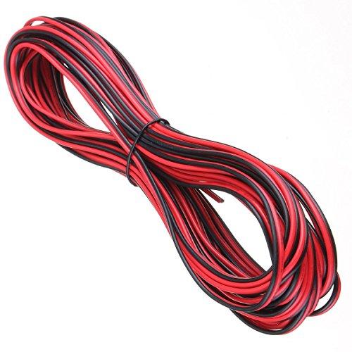 electrosmart® Stromkabel, 20m, 20AWG, 2Drähte rot/schwarz, ideal für 12V, LEDs, Lichterketten, Lichter, Auto, Van, Boot etc. 5285050