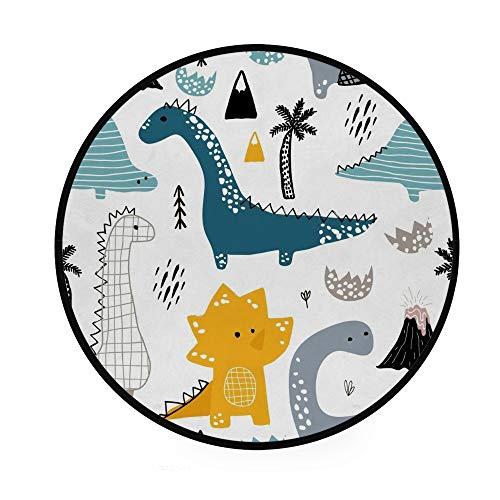 Orediy 92 cm Runde Schaumstoff-Teppich, niedliche Dinosaurier, leicht, für Kinderzimmer, Yoga-Matte für Wohnzimmer Schlafzimmer