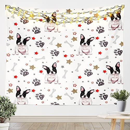 Tapiz de pared de Bulldog francés para colgar en la pared para niños, niñas, amantes de los perros, mascotas y perros, decoración de pared para dormitorio, sala de estar, 152 x 201