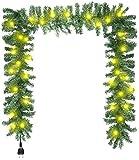 com-four Guirnalda de Navidad con Bombillas - Guirnalda de Abeto Artificial con Enchufe - Guirnalda de decoración navideña para la Mesa, la Puerta y la Ventana (Guirnalda de Navidad - 1 Pieza)