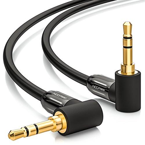 deleyCON 0,5m Klinkenkabel 3,5mm AUX Kabel Stereo Audio Kabel Klinkenstecker 90° Gewinkelt für PC Laptop Handy Smartphone Tablet KFZ HiFi-Receiver Schwarz