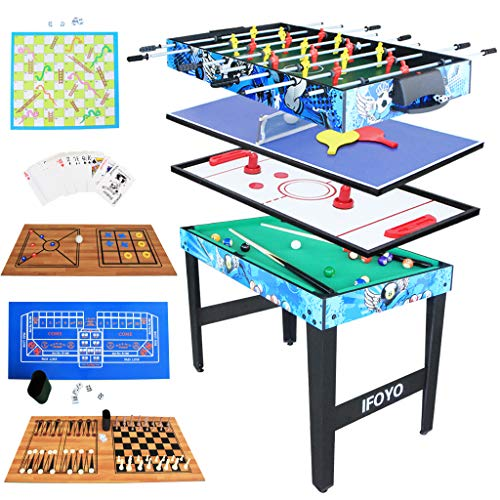 IFOYO 4ft Multi 14 in 1 Steady Combo Game Table, Hockey Table, Foosball Table, Pool Table, Table Tennis Table,Chess Set, Backgammon Set,Dice, Snake Ladder Set,Shuffleboard,Checker,etc