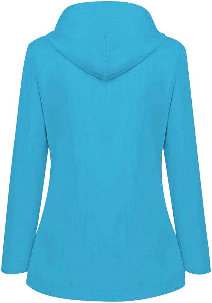 GOKOMO Damen Frühling Herbst Bequem Mantel Lässig Mode Jacke Frauen Feste Regenjacke im Freien Plus wasserdichter mit Kapuze Regenmantel Winddicht Himmelblau-a