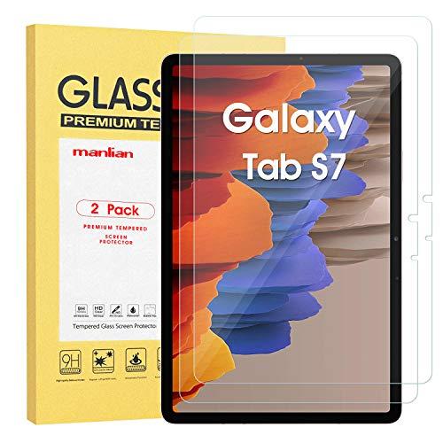 Manlian [2 Stück] Panzerglas Schutzfolie für Samsung Galaxy Tab S7 11 Zoll (Modell:SM-T870/SM-T875). Gehärtetes Glas Displayschutzfolie.