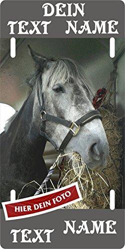 Pferdeschild mit EIGENEM Foto und Wunschtext aus Aluminium Boxenschild Stallschild Stalltafel Boxentafel Metallschild Türschild für innen und außen
