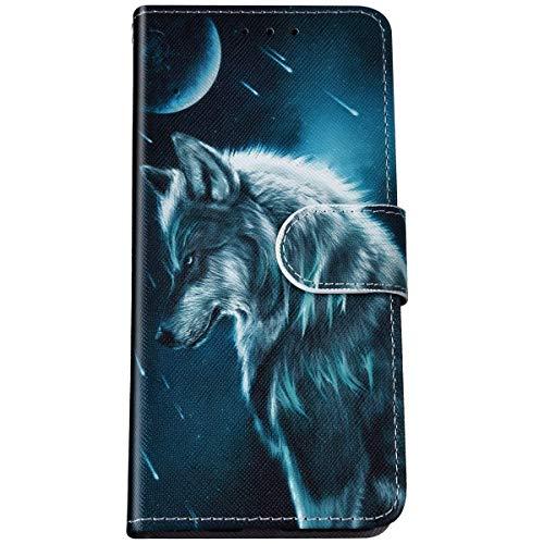 Felfy Kompatibel mit LG K40S Hülle Magnet Klapphülle,Bunte Painted Cool Wolf Muster Schutzhülle PU Lederhülle Brieftasche mit Kartenfach/Standfunktion Flip Tasche Handyhülle für LG K40S