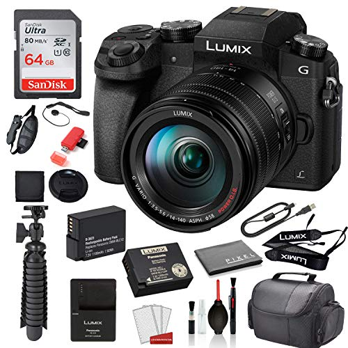 Panasonic Lumix DMC-G7 Mirrorless Micro Four Thirds Digital Camera with 14-140mm Lens (Black) (DMC-G7HK) with Accessory Bundle �SanDisk 64gb SD Card + Replacement Battery DMW-BLC12 + More