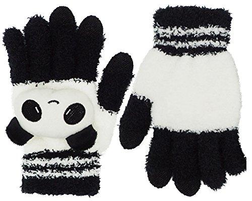 Girls Cute Cartoon Panda Winter Warmer Touchscreen Knit Mitten Texting Gloves