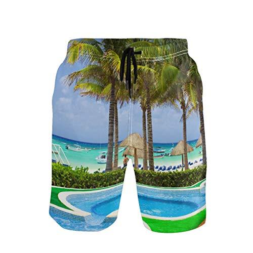 CODOYO Troncos de natación para Hombre Palmeras Tropicales Piscinas de mar Bañadores con Bolsillo Pantalones Cortos Casuales para Caminar en la Piscina