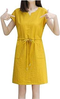 VonVonCo Fashion Casual Wild Wedding Praty Women V-Neck Short Sleeve Mini Dress Ladies Sashes Solid Dress