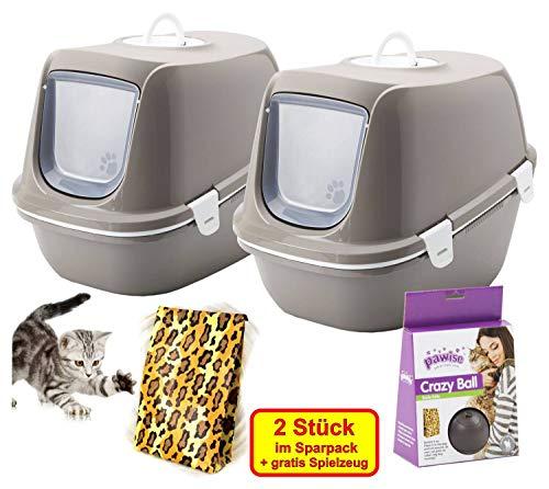 PETGARD 2er Sparpack Katzentoilette Reina Haube u. Siebeinsatz + gratis Katzenspielzeug warmgrey