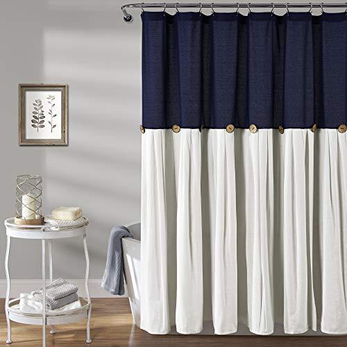 "Lush Decor, Navy & White Linen Button Shower Curtain, 72"" x 72"""