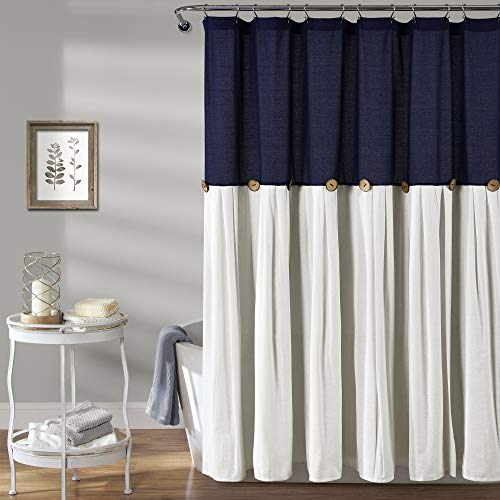 Lush Decor, Navy & White Linen Button Shower Curtain, 72u0022 x 72u0022