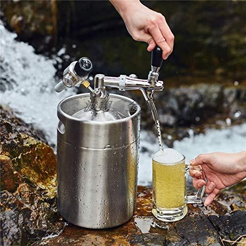 Dispensador de barril de cerveza de acero inoxidable Mini Coke, sistema de elaboración de cerveza con kit de grifo ajustable, opcional 2L / 3.6L / 5L / 8L, utilizado para cerveza artesanal,(Size:5L)