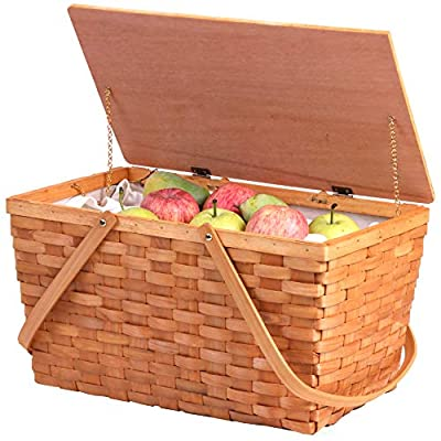 Vintiquewise QI003416 Large Woodchip Picnic Basket with White Lining and Wooden