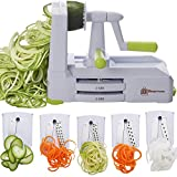 Brieftons 5-Blade Spiralizer (BR-5B-02): Strongest-and-Heaviest Duty Vegetable Spiral Slicer, Best...