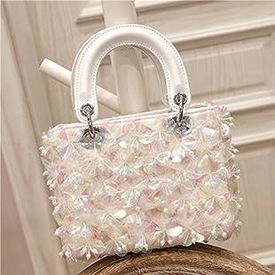 XCF WLQ Handbag - Summer Tide Lady Messenger Bag - Handmade Beaded Flower Purse - Quilted Shoulder Bag,white,Crossbody bag