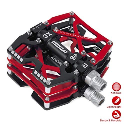 LYCAON Pedales para Bicicletas, Pedal de Bicicleta Antideslizante de Aleación de Aluminio CNC, para Bicicleta de Carretera MTB BMX Mountain Road de 9/16' (Rojo)