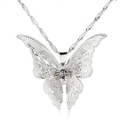 CS-DB Silver Plated Butterfly Pendant+Chain Women Lady Girl Sterling